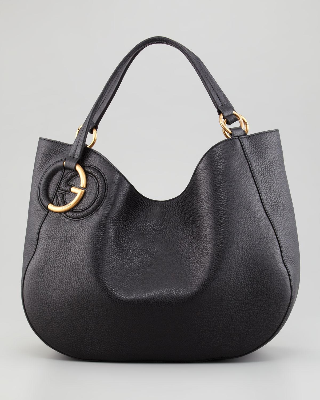 Gucci-Twill-Leather-Large-Shoulder-Bag-Black